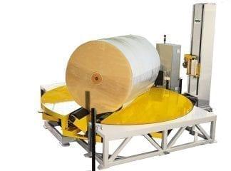 Sträckfilmsmaskin för liggande rullemballering